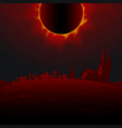 horrible total solar eclipse above the cemetery vector image vector image