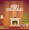house with christmas decoration vector image vector image