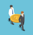isometric two businessman carrying big dollar coin vector image
