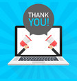 laptop notebook computer screen hand holding vector image vector image