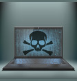 laptop with skull and crossbones on the screen vector image vector image