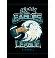 Mighty Eagles League football team on black vector image vector image
