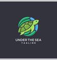 modern colorful coral logo turtle logo icon vector image vector image