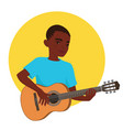 musician playing guitar african boy guitarist is vector image
