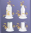 oat milk package mockup set realistic vector image