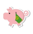piggy savings with bill isolated icon vector image vector image