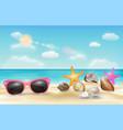 pink sunglasses sea shell and starfish on beach vector image vector image