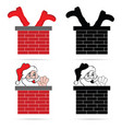 santa clause in colorful with chimney vector image vector image