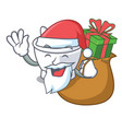 santa with gift mortar mascot cartoon style vector image vector image