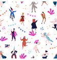 seamless pattern with tiny people in carnival vector image vector image