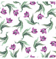 seamless pattern with tulips trendy textile vector image vector image
