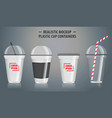 set mock up realistic plastic cup containers vector image