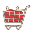 shopping cart with christmas balls vector image
