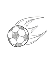 sketch of the flying football ball with flames vector image