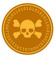 skull crossbones digital coin vector image vector image