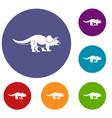 styracosaurus icons set vector image vector image