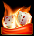 two burning dices vector image vector image