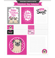 valentines day printable set wih funny pugs vector image vector image