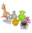 various stuffed toy animals on white background vector image