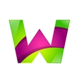 W letter green and pink logo design template vector image vector image