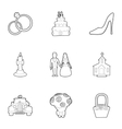 Wedding ceremony icons set outline style vector image vector image