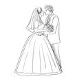 doodle newlyweds vector image