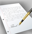 Handwritten letter with fountain pen vector image