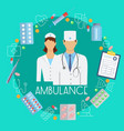ambulance poster with flat icons vector image