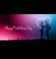 beautiful valentines day banner with silhouette vector image