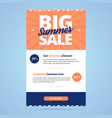 Big summer sale newsletter template vector image vector image