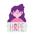 breast cancer awareness month young woman and hope vector image vector image