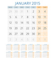 Calendar 2015 12 months design template vector image vector image