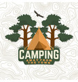 camping badge away from town for vector image vector image