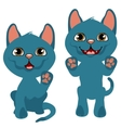 Cheerful playful blue kitten cartoon pets vector image vector image