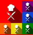 chef with knife and fork sign set of vector image