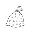 christmas bag with gifts coloring page vector image