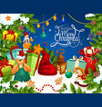 christmas greetings with santa gift frame vector image vector image