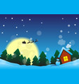 christmas night near the forest vector image