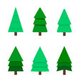 christmas tree a set of nine green christmas vector image vector image