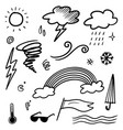 collection hand drawn doodle weather icons vector image