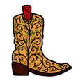 cowboy boot with floral pattern design element vector image vector image