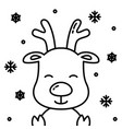 cute christmas reindeer black outline with snow vector image