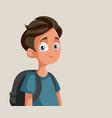cute teen school boy character vector image