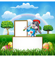easter rabbit painting in an empty board vector image vector image