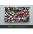 flags world in one flag with shadow vector image vector image