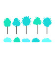green and blue trees with splash and dots vector image