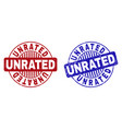 grunge unrated textured round watermarks vector image vector image