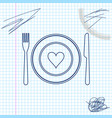 heart on plate fork and knife line sketch icon vector image