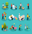 isometric fatherhood elements set vector image
