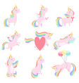 lovely unicorn set cute fantasy animal character vector image